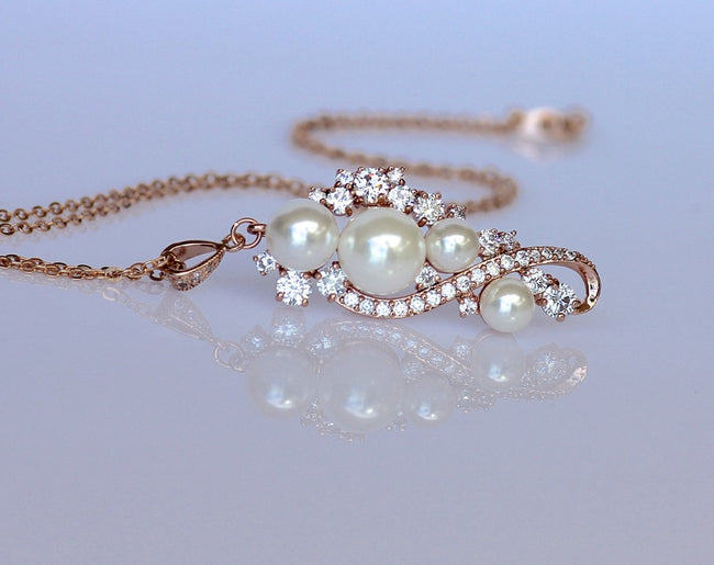 Rose Gold Pearl Necklace, TILLY RG