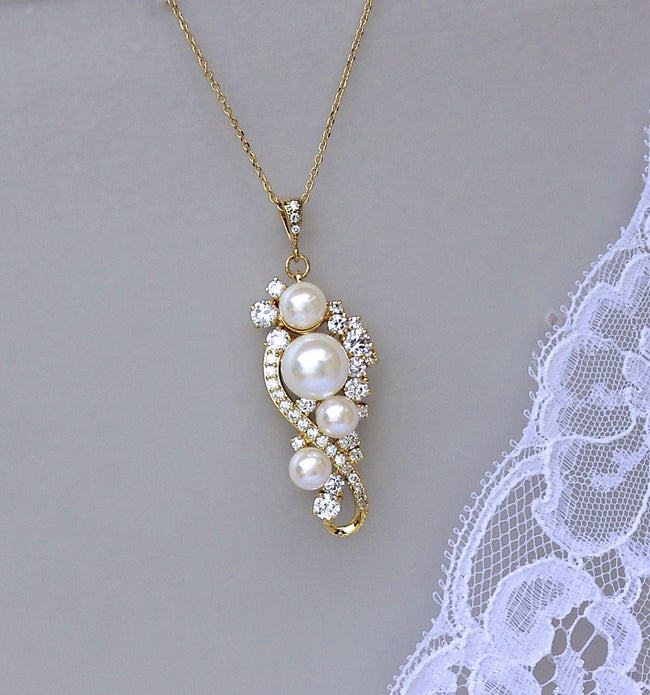 Gold Crystal and Pearl Bridal Necklace, TILLY G