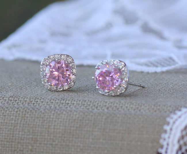 Pink Crystal Stud Earrings, RIKKI