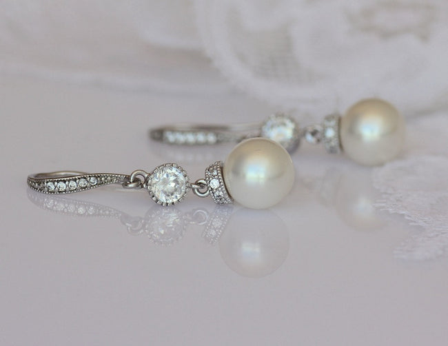 Swarovski Pearl and Crystal Wedding Earrings, SISSY
