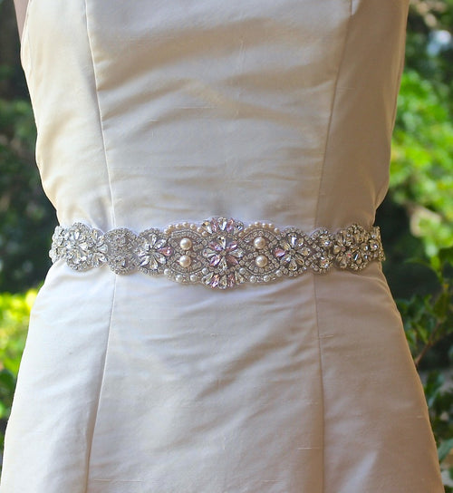 Crystal & Pearl Beaded Bridal Sash, ALOHA L