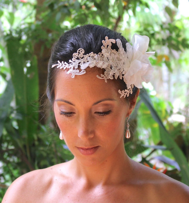 Blush and Ivory White Lace Bridal Comb, LISSIE
