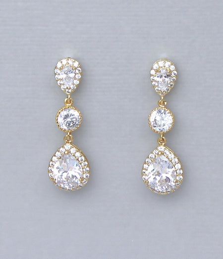 Pearl Gold Crystal Earrings, ANNIE