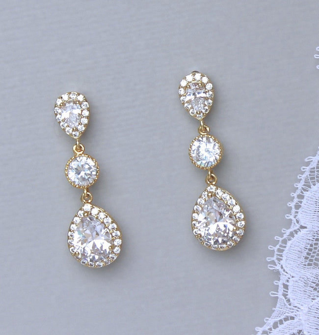 Gold Crystal Earrings, TAMARA G 1