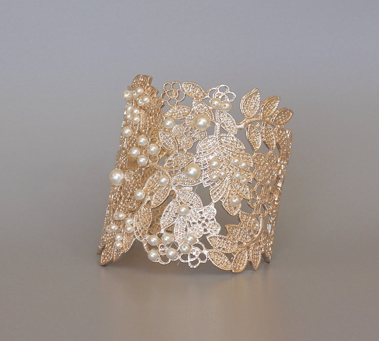 Light Rose Gold Lace Cuff, TABITHA