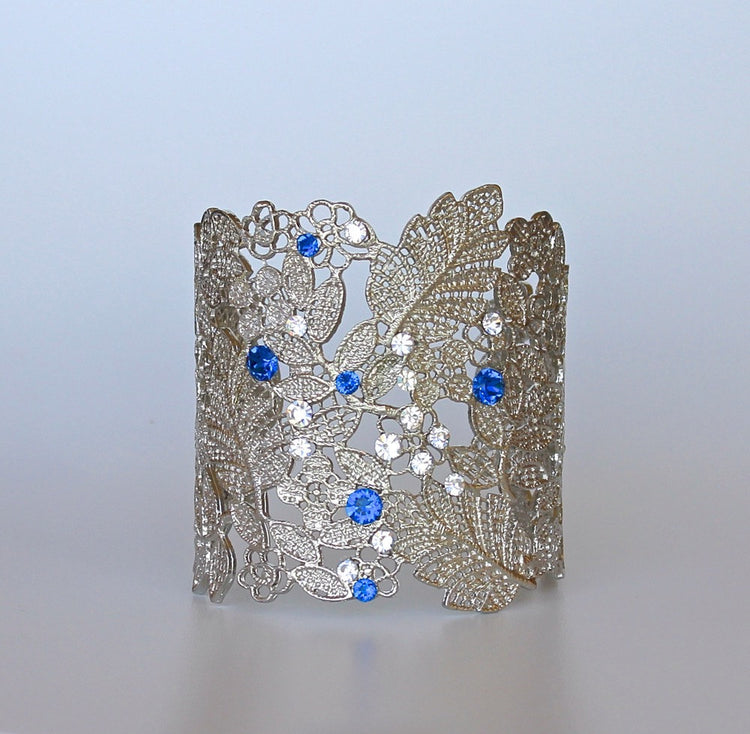 White Gold Lace Bridal Cuff, TABITHA