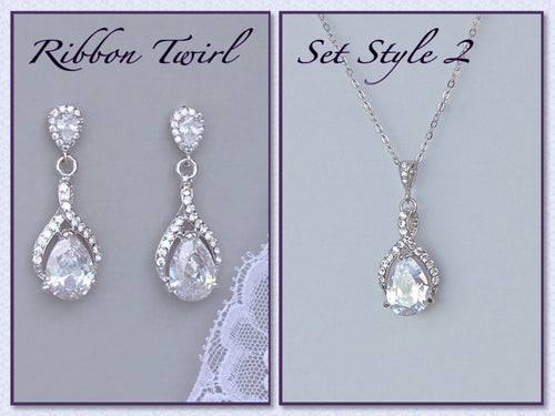 Teardrop Crystal Bridal Set, RIBBON TWIRL