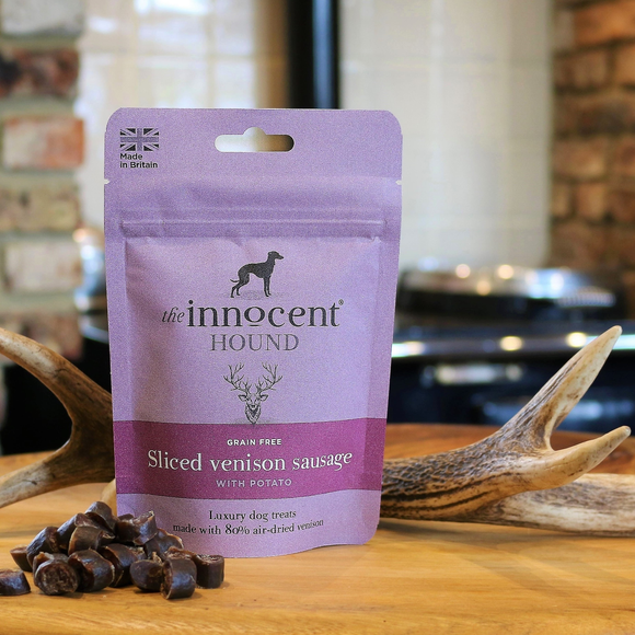 Venison sausages for dogs. Healthy dog treats. Luxury treats for dogs.