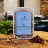 Grain free sliced duck sausages with cranberry dog treats The Innocent Hound