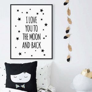 "Toile ""I Love You To The Moon And Back"" - Les P'tits Fouineurs"