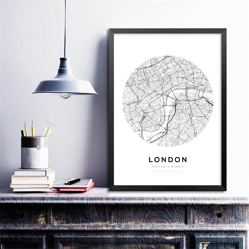 Toiles collection Maps Paris London NY - Les P'tits Fouineurs