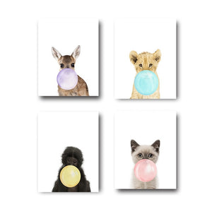 Toiles collection Animaux Colorfull Bubble Gum - Les P'tits Fouineurs
