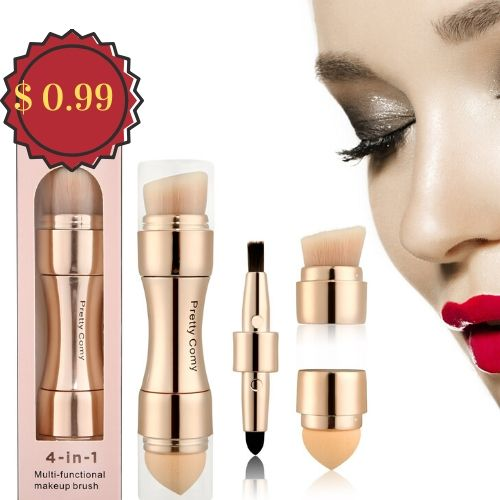 4 In 1 Portable Professional Makeup Brushes Foundation Eyebrow Shadow Eyeliner Blush Powder Tool