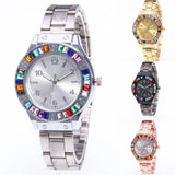 Gailis Crystals Stones Women Quartz Stainless Steel Wrist Watch-Women Wrist Watch-Free Item Online