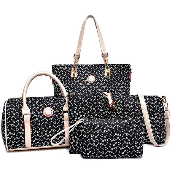 Jasmine Collections 6 PC Set Women Handbag Print Composite Bag-handbags sets-black-Free Item Online