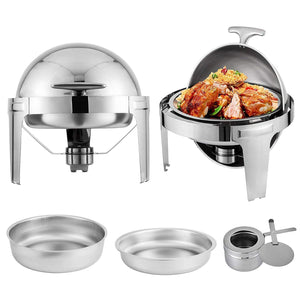 Round Food Warmer 6.5 Qt Roll Top Stainless Steel-chafer-6.5 Qt-silver with silver handle-Free Item Online