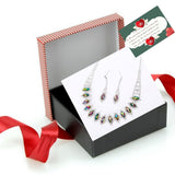 Best Valentines gift for girlfriend wife a romantic gift for her Gailis Design Silver Necklace Earring Rhinestone Crystals Jewelry Set