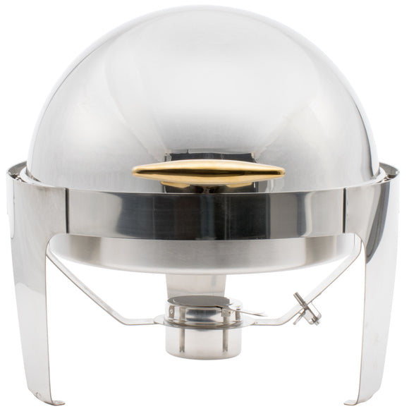 Round Food Warmer With Gold Handle 6.5QT-chafer-6.5 Qt-silver with gold handle-Free Item Online