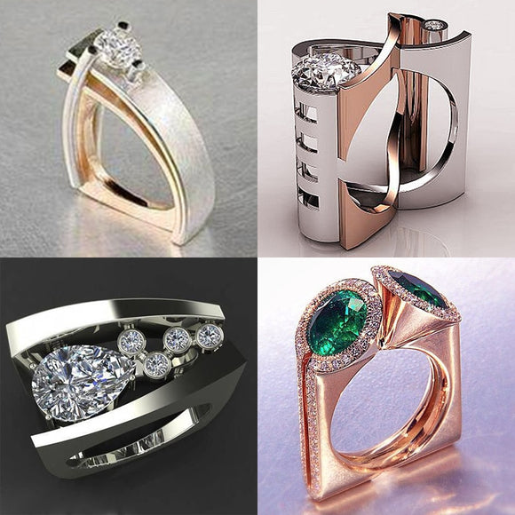 Luxury Fashion Unisex Zircon Finger Ring Unique Style Silver Gold Color Engagement Ring Vintage Wedding Rings For Women-Free Item Online