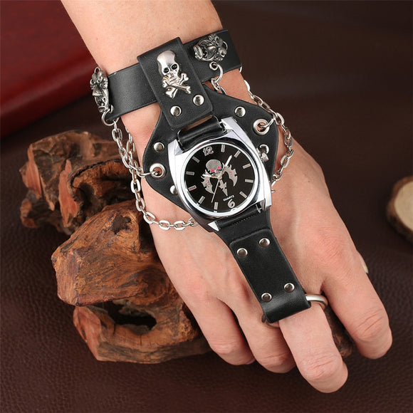Gailis Punk Unisex Wrist Watch Black Leather Chains 3 Strap Quartz Gothic Skull Timepiece-Free Item Online