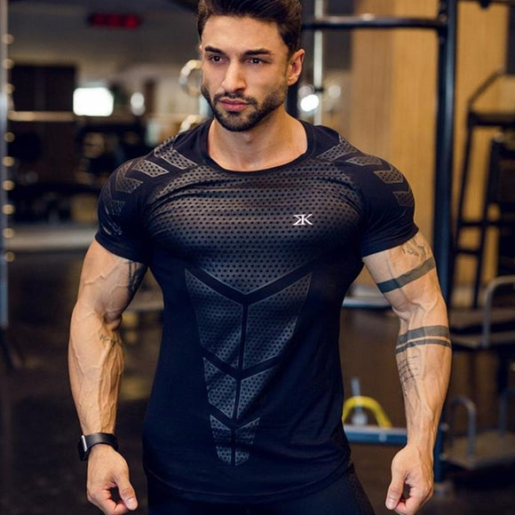 Ryan Design Compression Men Tee Shirt Gym Fitness Bodybuilding Workout Black Tops-work out top-Free Item Online