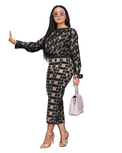 Lauren Plaid Pant and Top Set women's autumn new fashion long-sleeved loose blouse two-piece-two piece pant and top set-Free Item Online