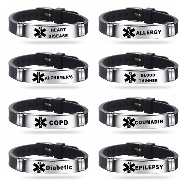 Free Silicone Medical ID Bracelet Alert ICE Bangle Adjustable Length Wristband Unisex Jewelry