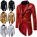Sequin Men's Blazer Tail Casual Slim Fit