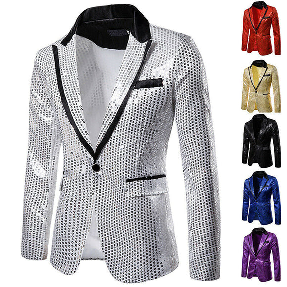 Men's Sequin Blazer Casual Slim Fitness Formal One Button Office Suit Blazer Coat Sequins Suit Jacket