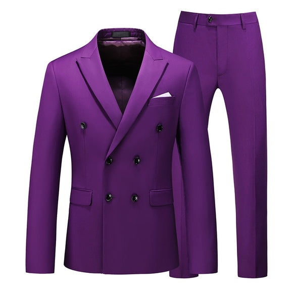 Men Two-piece Suit Double-breasted Solid Color Slim Business Casual Suits with Pants