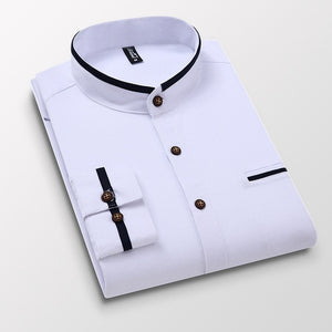 Men Shirt Long Sleeve Oxford Business Dress Casual Slim Fit