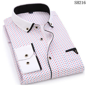 Men Long Sleeve Shirt Slim Fit Style