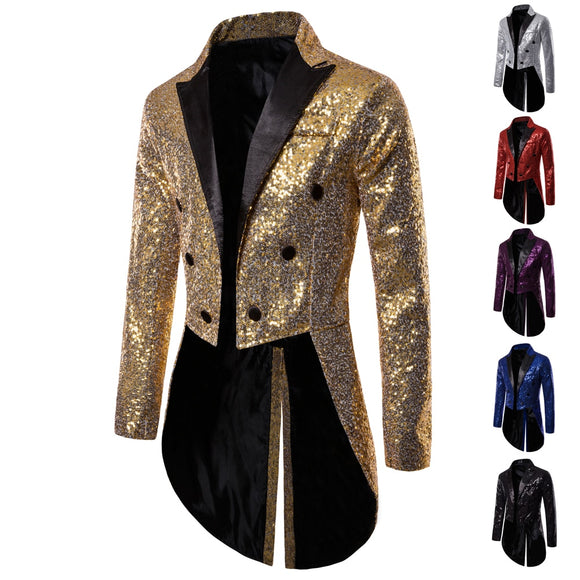 Best Sequin Wedding Blazer Jacket Men Nightclub Prom Suit  Singers Stage Clothes