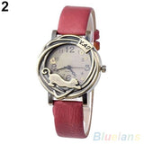 Cathy Women's Vintage Bronze Cat Leather Quartz Analog Wristwatch-watches-Red-Free Item Online