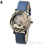 Cathy Women's Vintage Bronze Cat Leather Quartz Analog Wristwatch-watches-Blue-Free Item Online