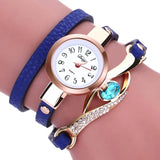 Eye Diamond Fashion Bracelet Women Wrap Around Leather Wrist Watches-Women Wrist Watch-Blue-Free Item Online