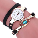 Eye Diamond Fashion Bracelet Women Wrap Around Leather Wrist Watches-Women Wrist Watch-Black-Free Item Online