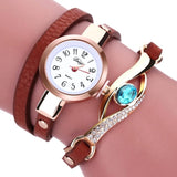 Eye Diamond Fashion Bracelet Women Wrap Around Leather Wrist Watches-Women Wrist Watch-Brown-Free Item Online