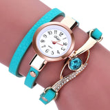 Eye Diamond Fashion Bracelet Women Wrap Around Leather Wrist Watches-Women Wrist Watch-Green-Free Item Online