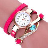 Eye Diamond Fashion Bracelet Women Wrap Around Leather Wrist Watches-Women Wrist Watch-Hot Pink-Free Item Online