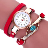 Eye Diamond Fashion Bracelet Women Wrap Around Leather Wrist Watches-Women Wrist Watch-Red-Free Item Online