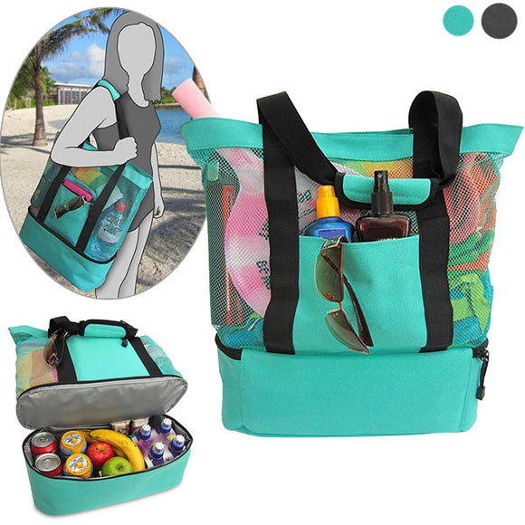 Picnic Portable Insulated Cooler Food Beach Mesh Tote Bag-women accessories-Free Item Online