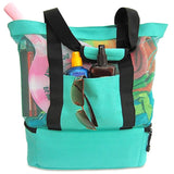Picnic Portable Insulated Cooler Food Beach Mesh Tote Bag-women accessories-Green-Free Item Online