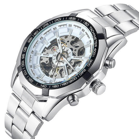 Bensap Luxury High End Skeleton Watch Top Brand Automatic Mechanical Wrist Watch-watches-white face-Free Item Online