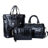 Freda 3Pcs Set Alligator Leather Women Shoulder Bag Handbag-Handbag-Black-Free Item Online