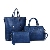 Freda 3Pcs Set Alligator Leather Women Shoulder Bag Handbag-Handbag-Blue-Free Item Online