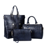 Freda 3Pcs Set Alligator Leather Women Shoulder Bag Handbag-Handbag-Dark Blue-Free Item Online