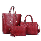 Freda 3Pcs Set Alligator Leather Women Shoulder Bag Handbag-Handbag-Wine Red-Free Item Online