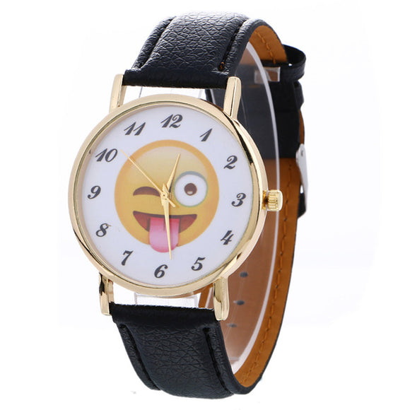 Emoji Fashion Watches High Quality Quartz Watches RIT001-womens wrist watch-Black-Free Item Online