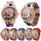 Rose Gold Womens PU Leather Metal Watch-womens wrist watch-Free Item Online
